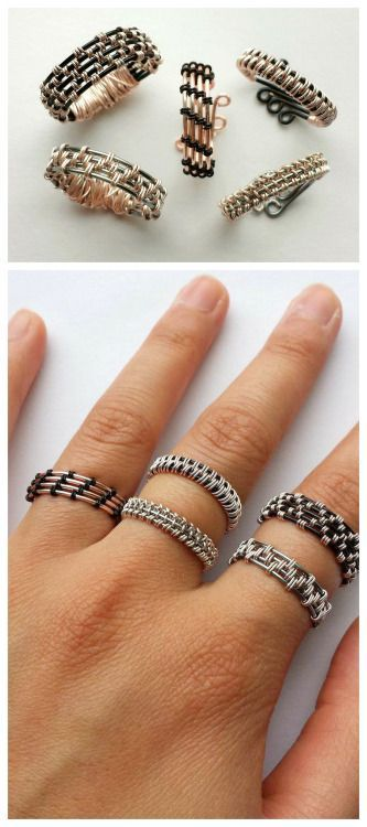 """DIY Woven Wire Rings Tutorial by Instructables' User watchmeflyy.Excellent tutorials that make these DIY woven rings seem easier to make than they look. (via handmade charlotte) Also, what I like about Instructables is the comment section. The comments are substantial and informative (not""""looks great! Follow my blog!) and the authors of the DIYs always answer questions.  For hundreds of DIY wire projects and wire jewelry go here: truebluemeandyou.tumblr.com/tagged/wire"""