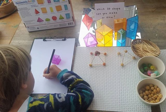 The boys have been talking about 3D shapes recently, so I set up an invitation for them to explore making & drawing 3D shapes this morning. #unschooling #lifewithoutschool #invitationtoexplore #interestledlearning #reggioinspired