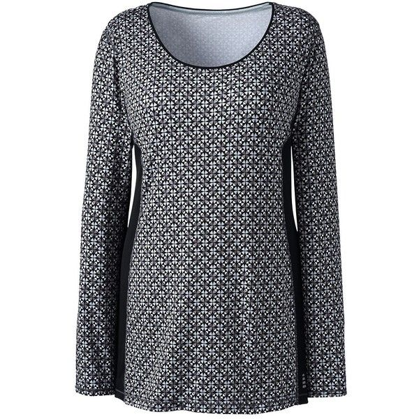 Lands' End Women's Plus Size Active Long Sleeve Tunic Top ($35) ❤ liked on Polyvore featuring plus size women's fashion, plus size clothing, plus size activewear, plus size activewear tops, grey, lands' end, plus size sportswear and women's plus size activewear