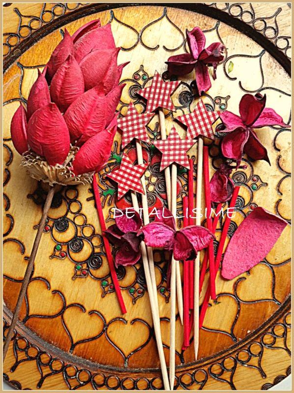 Palillos de madera con estrellas rojas de cuadritos de vichy (10, 12 o 15 cms) pedidos y catálogo: detallisime@yahoo.es