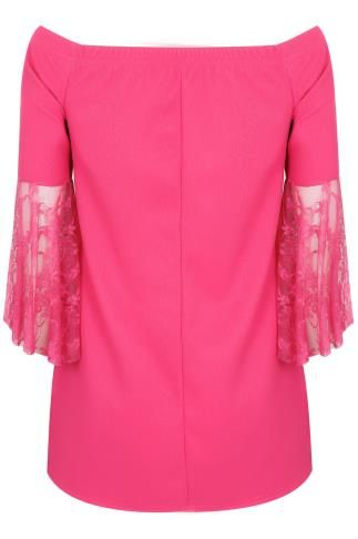 LIMITED COLLECTION Hot Pink Bardot Top en dentelle à manches Flute