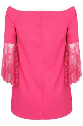 LIMITED COLLECTION Hot Pink Bardot Top en dentelle à manches Flute