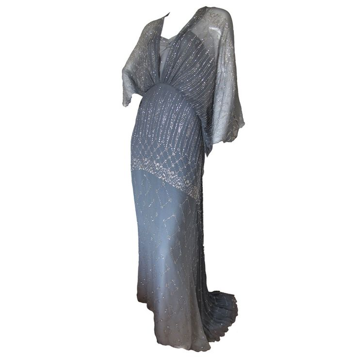 1970s Gina Fratini Ombre Silk Glitter Gown with Train | From a collection of rare vintage evening dresses and gowns at https://www.1stdibs.com/fashion/clothing/evening-dresses/