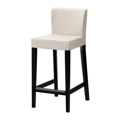 HENRIKSDAL Bar stool with backrest, brown-black, Linneryd natural Linneryd natural brown-black 74 cm