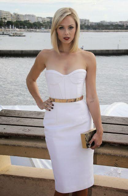 Classy white dress with golden belt- Laura Vandervoort