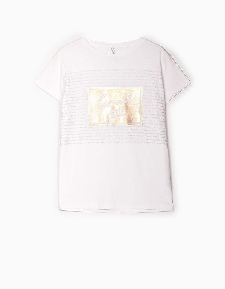 Stradivarius Colombia Camiseta print foil - STAY - MUJER…