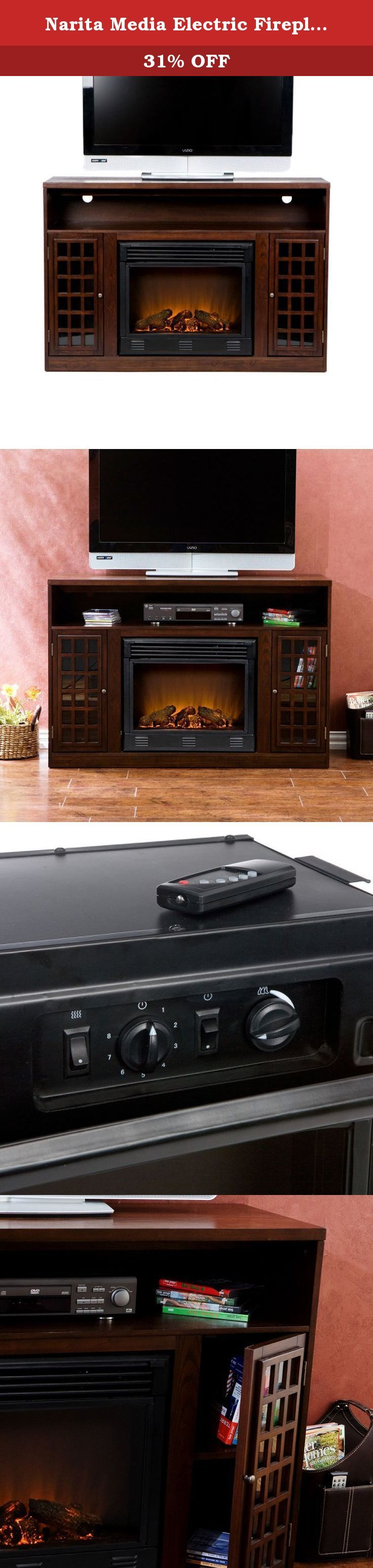 Narita Media Electric Fireplace - Espresso. Solid lines and distinct Asian style make this media console & fireplace a sought-after home design accent. Sturdy mantel can support your electronic equipment with ease. Crafted from fine hardwoods, it has an espresso finish for casual style and relaxed character. Mantel supports up to 85 lbs.. Remote control (2 AAA Batteries Required). Ideal for up to 50 in. flat screen television. One adjustable shelf in each cabinet. Perfect for any room....