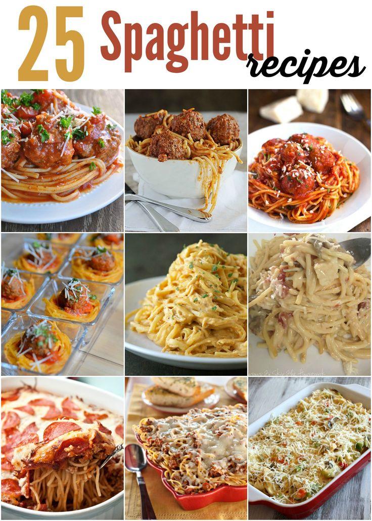 25 Spaghetti Recipes - from Traditional Spaghetti to Spaghetti Carbonara and Crock Pot Spaghetti recipes #spaghettirecipes