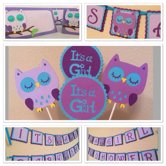 Owl Baby Shower Decorations. Colors Can Be Customized