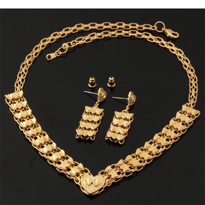 Золотое Сердце Ювелирные Наборы Для Женщин Ожерелье Серьги Падения 18 К Настоящее Позолоченные Ювелирные Изделия Способа Свадебные Аксессуары NE230
