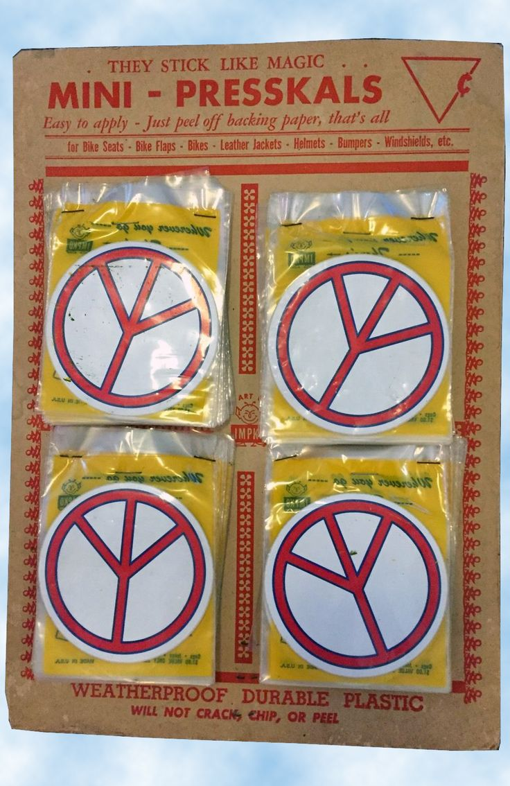 Acquired in the summer of 2016 - a FULL (96 count) easel back standee display of individually packaged 1960's Peace Sign PLASTIC Stickers. Made by the great IMPKO decal and sticker company of the Hippy era. Odd that they would package the peace signs upside down.