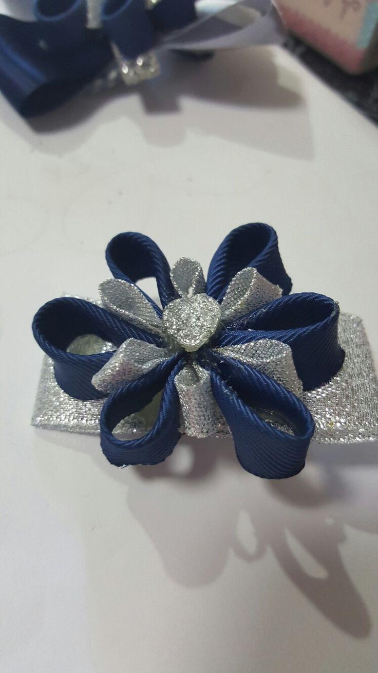 Hair ribbon petal navy blue silver small.. by Shaz