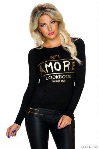 Μακρυμάνικο πουλόβερ με μεταλιζέ print - Μαύρο