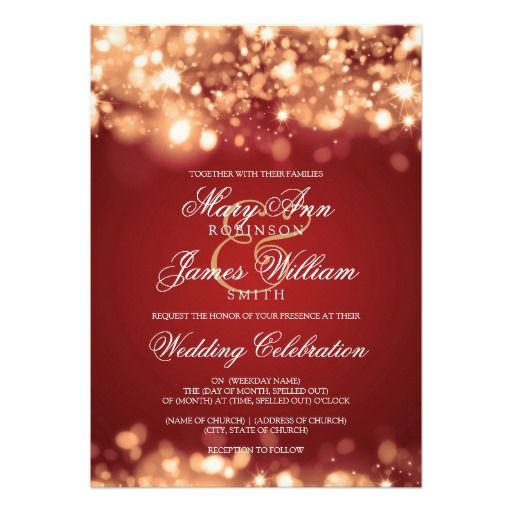 Wedding invitation Sparkling Lights in red and Gold Custom Invite