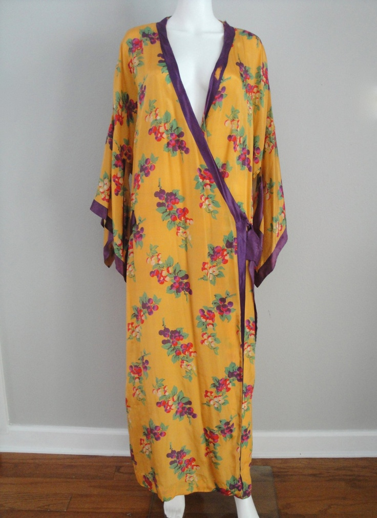 Reserved for Rae Crawford --Vintage 1920s 1930s Silk Kimono 20s 30s Peignoir Lingerie Plus Size Dressing Gown Bordello Boudoir. $115.00, via Etsy.
