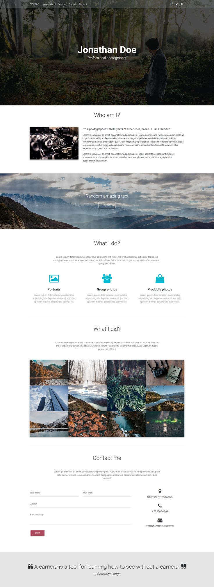 A Photographer Portfolio Template, made with Material Design for Bootstrap