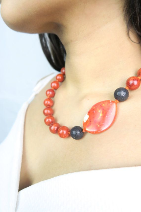 Style Fashion Chic Orange statement necklace  Chunky handmade necklace  by SZJewels