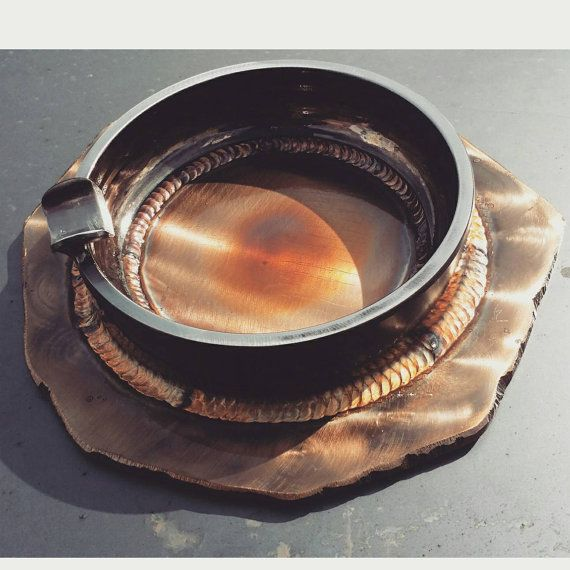 Large tig welded stainless steel cigar ashtray by