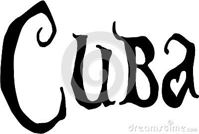Cuba text sign illustration