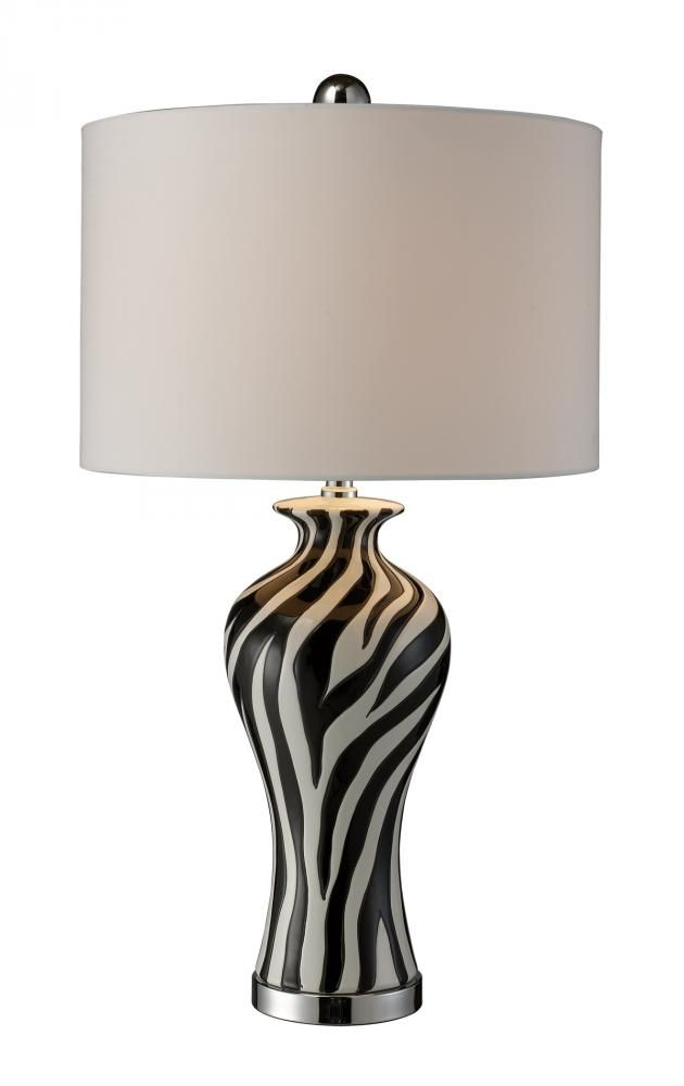 A zebra striped table lamp from dimond looks great in your living room bedroom