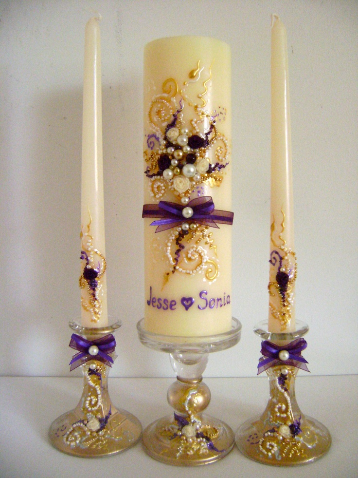 wedding unity candle set 3 candles and 3 glass