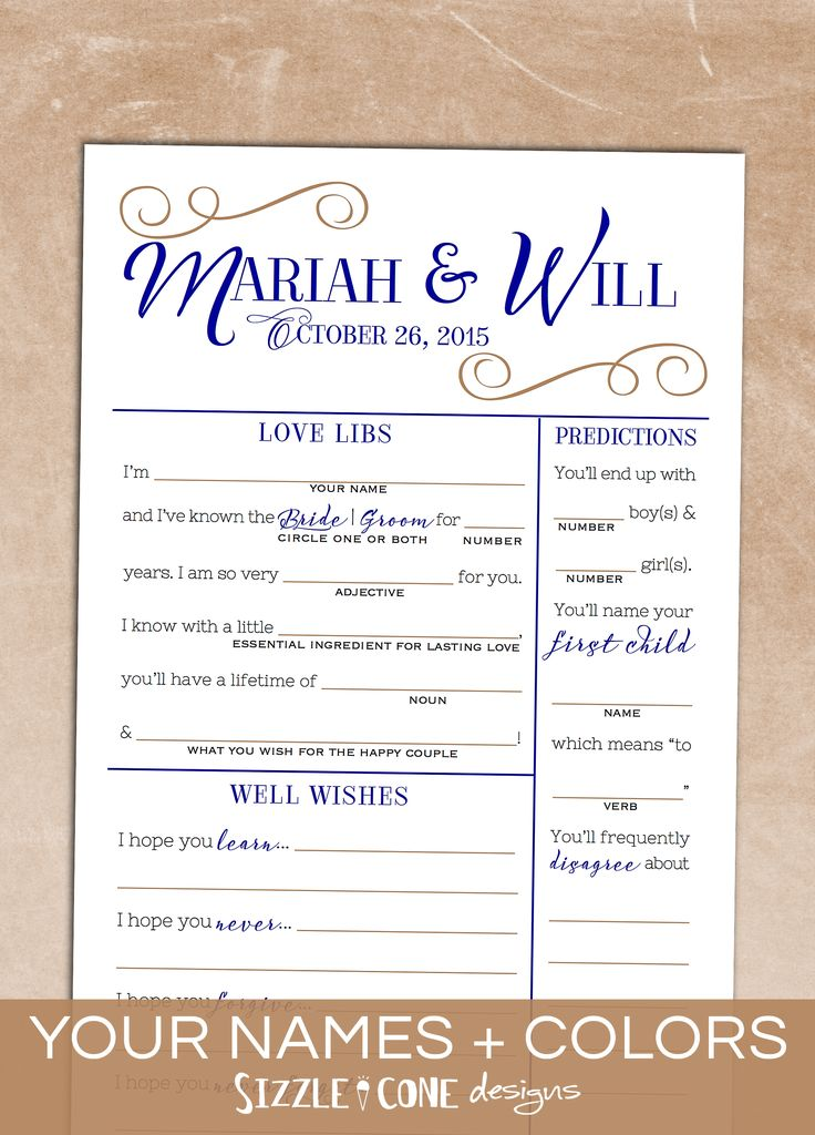 "Kiss that boring ole wedding guestbook goodbye & say hello to double-sided, custom multi-game ""wedding mad lib"" cards that your guests will actually enjoy filling out! Games include love libs, newlywed predictions, well wishes, memory lane, marriage advice, & guest sketch. Fun + practical!"