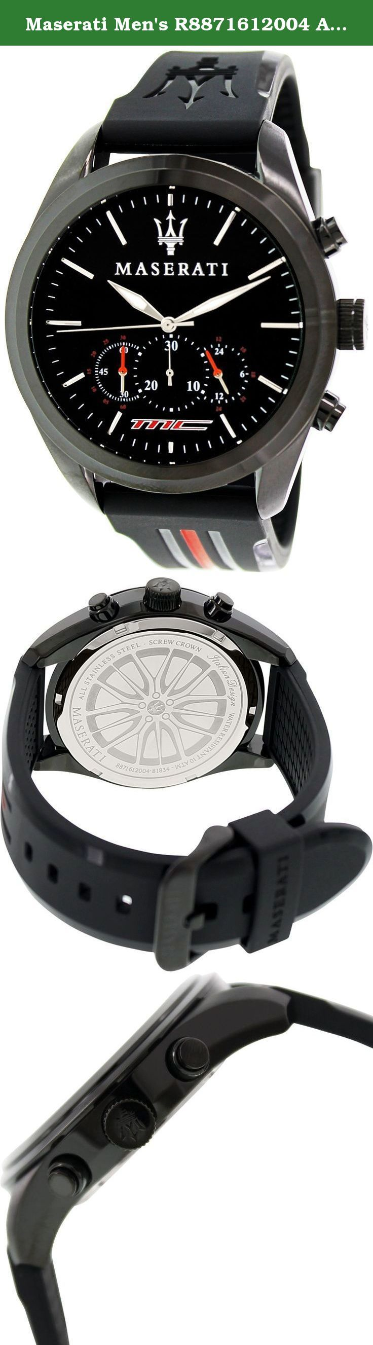 Maserati Men's R8871612004 Analog Display Quartz Black Watch. Maserati R8871612004 Traguardo chronograph unisex watch features a 42mm wide and 13mm thick black ion plated solid stainless steel case with a fixed bezel and textured screw down crown with function pushers. Maserati R8871612004 is powered by quartz chronograph movement. This stylish watch also features a textured shiny sunray black dial with white accents silver tone luminous hands and index hour markers along with the...