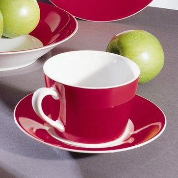 10 Strawberry Street Soho Red Tea Cup and Saucer - Set of 6 contemporary cups and glassware