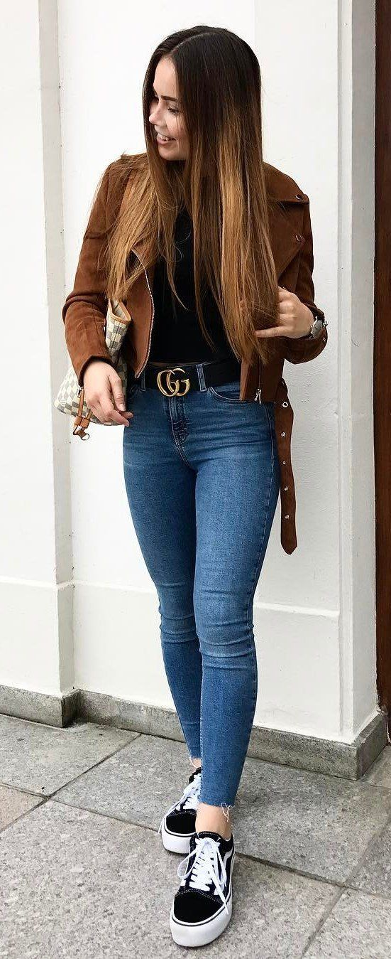 fall outfit: brown jacket + bag + skinnies