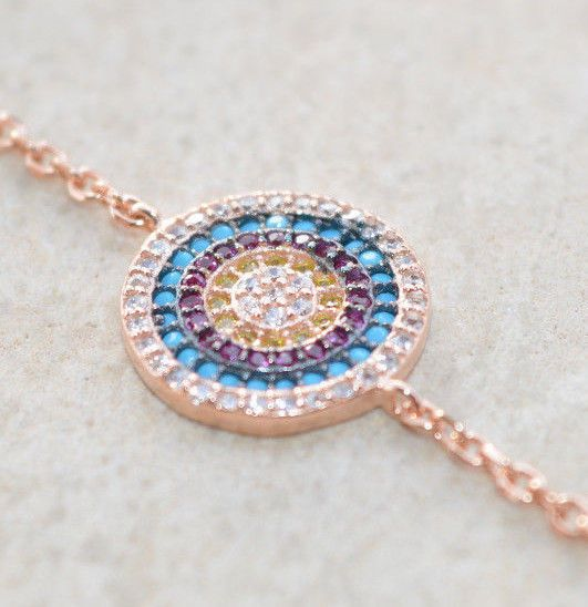 Sterling Silver 925 Bracelet Rose Gold Plated Pink Turquoise Yellow Ruby Zircon
