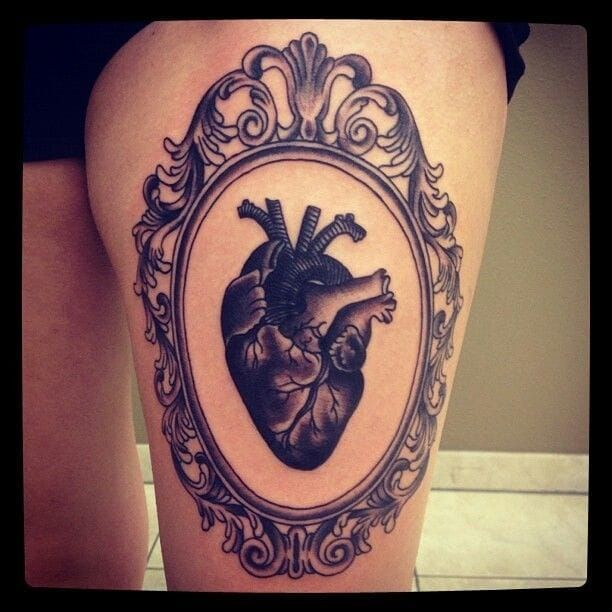 Heart frame tattoo