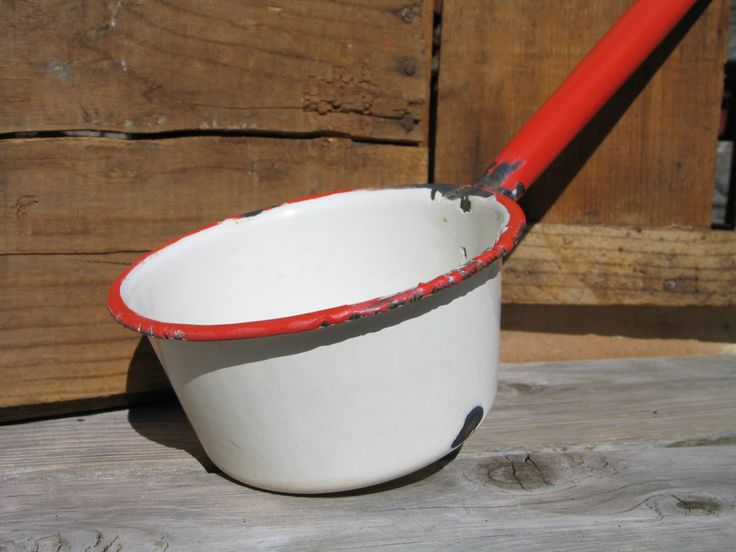 Vintage Farmhouse Kitchen Ladle Enamelware Ladle Dipper Large Spoon Collectible Kitchen Utensil Old Farm House Style by Itzvintagedarling on Etsy