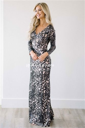 Black Sequin Mermaid Gown Modest Bridesmaids , modest dresses, best place to buy modest dresses, all sequin bridesmaid dress, silver sequin dress, bridesmaid dress with sleeve, sequin bridesmaids dresses, champagne dress, light purple modest dresses