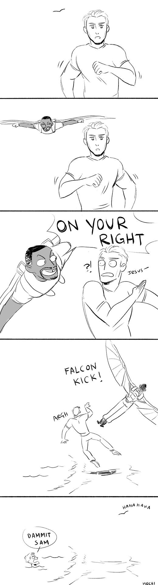 "Captain America<<---Wouldn't been hilarious if Falcon said, ""FALCON PUNCH!!!"""