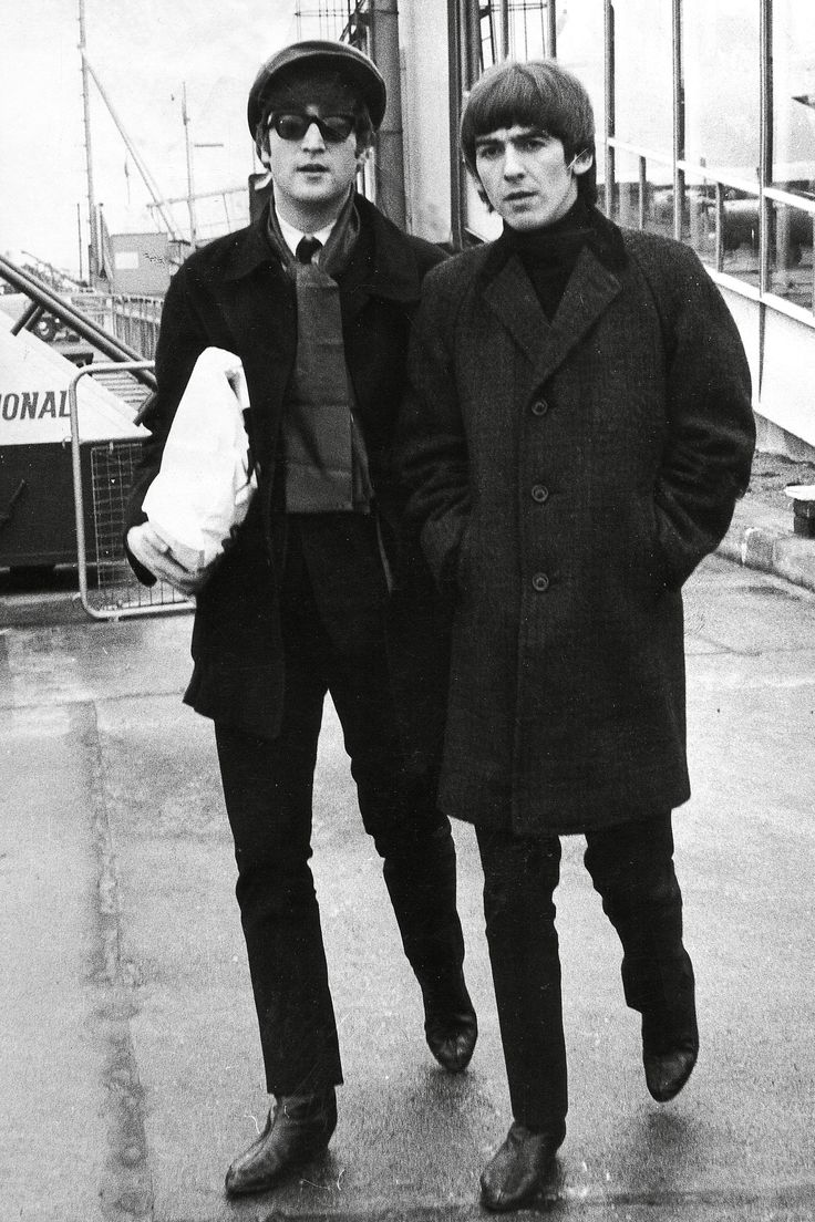 Lennon with George Harrison, 1964   - HarpersBAZAAR.com