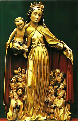 I love this image of the Madonna as she protects those in need within her cloak.