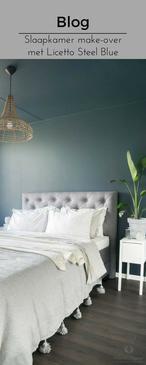 Blog   Muk van Lil geeft haar slaapkamer een make-over met Licetto en Traditional Paint lak in de kleuren Steel Blue en Silk White. Ze schilderd de wanden, het plafond, de kozijnen en verwarming www.pure-original.nl/blog-inspiratie/slaapkamer-make-over-met-licetto-bij-muk-van-lil