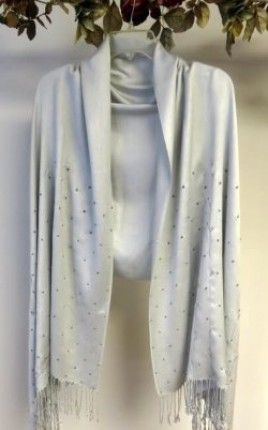 """Buy silver #pashmina #shawl beauty with sparkles and a slender vine design - delicate pretty silk pashmina shawl must have with you for any special occasion. Final #handcrafted pashmina #shawls #wraps for you so you have a distinctive shawl #wrap for your evening dresses.  Product No: 6431 Size: 28"""" X 76"""" w/ fringe Price: $54.99"""