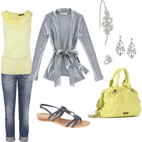 Yellow and grey!: Colors Combos, Fashion, Dreams Closet, Color Combos, Yellow Gray, Style, Clothing, Spring Outfits, Gray Yellow