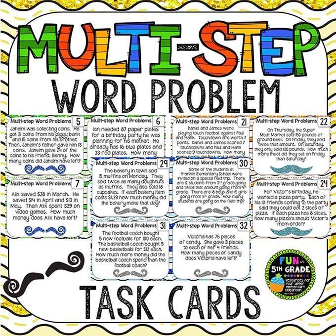 multiple step word problem task cards 4th grade math. Black Bedroom Furniture Sets. Home Design Ideas