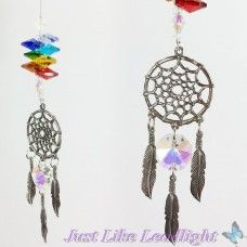 Chakra crystal suncatcher, Dreamcatcher- CHSC018 small pewter dreamcatcher pendant with pewter feathers and Justlikeleadlight crystals in chakra colours  See all my crystal creations - www.justlikeleadlight.com.au  follow me on facebook - www.facebook.com/justlikeleadlight