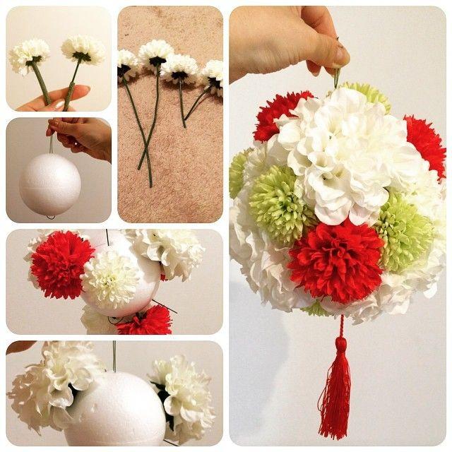 DIYも出来る♩和と洋が融合した『手まり風ボールブーケ』が可愛い!にて紹介している画像