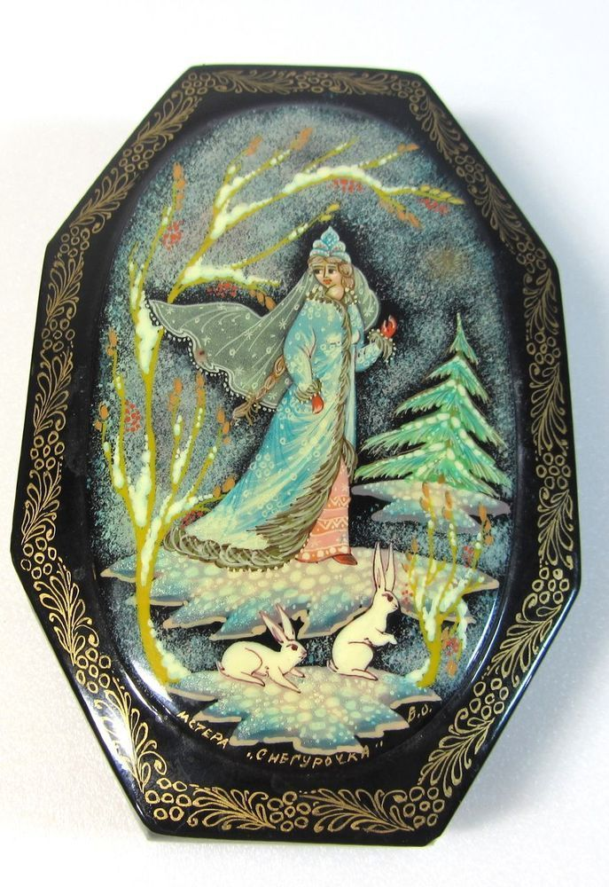 """Russian Lacquer Box Tilted """"Black Snow Maiden & Rabbit""""  Fairy Tale 