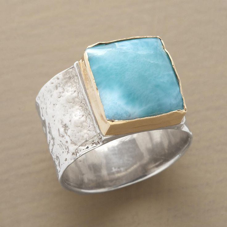 BARAHONA RING--$278.00 This handcrafted larimar ring features a rare volcanic gem, found on only one island in all the world