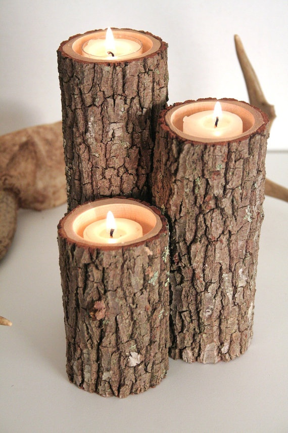 Tree Branch Candle Holders 3 Candle Holders Rustic by Worleys, $16.50...would be so cute in my house!