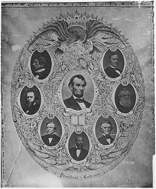 "Poster depicting Abraham Lincoln and his cabinet. William H. Seward, Salmon P. Chase, Simon Cameron and Edward Bates had all competed against Lincoln in the Republican primary and were thus effectively offered positions in the cabinet to assure Lincoln's nomination. Despite Lincoln's political inexperience he was able to not only manage his ""Team of RIvals,"" but turn them into loyal advisors."
