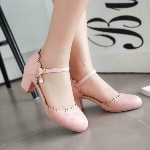 Detalles sobre Sweet Womens Lolita Mary Jane Tobillo Block Block Tacones medios Kawaii Shoes Plus Size   – Kawaii