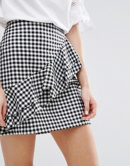 ASOS || New Look Gingham Ruffle Mini Skirt