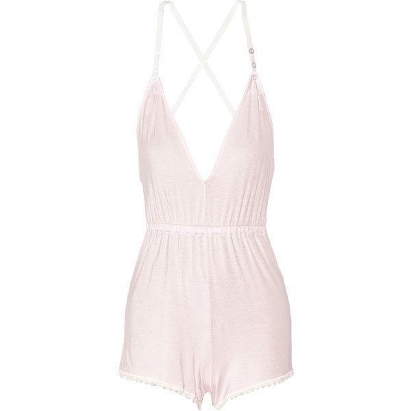Cheek Frills x Carolyn Murphy Lace-trimmed stretch-modal playsuit ($45) ❤ liked on Polyvore featuring jumpsuits, rompers, pastel pink, playsuit romper, pink romper and pink rompers