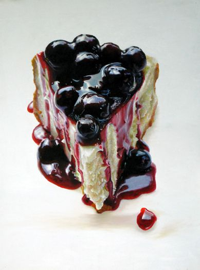 "Mary Ellen Johnson, Big Blueberry Cheesecake, 2010, oil on panel, 48"" x 36"""